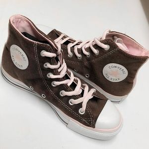 BROWN AND PINK VELVET CONVERSE HIGH TOPS SZ 7